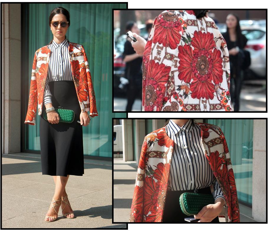 Camisa: Zara | Saia: Zara | Blazer: Daslu | Clutch: Bottega Veneta | Óculos: Cutler and Cross